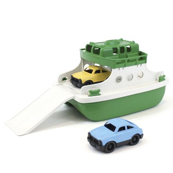 Fähre mit Fahrzeugen, grün/weiß / Ferry Boat, green/white