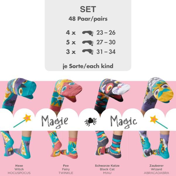 Komplettes Set 48 Paar Sockenpuppen MAGIE