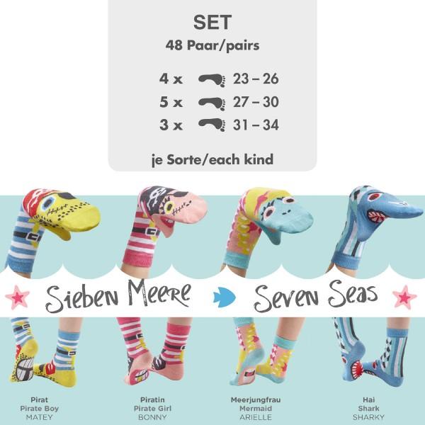 Komplettes Set 48 Paar Sockenpuppen SIEBEN MEERE